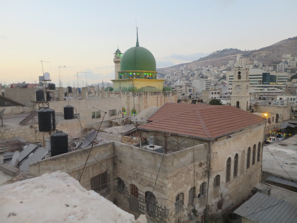 The mosque and old clock tower in the old city of Nablus.