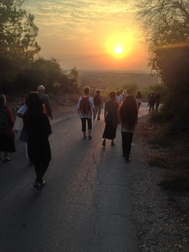 Walking meditation at sun down