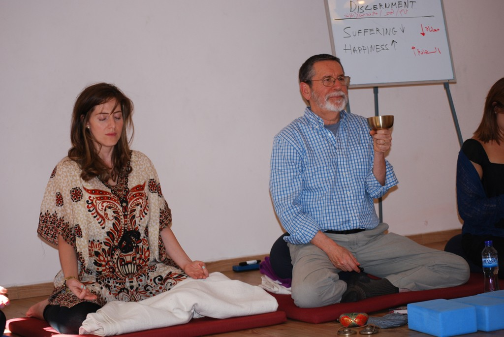 Leading a guided meditation