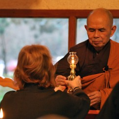 Thich Nhat Hanh transmitting the lamp to a new Dharma Teacher
